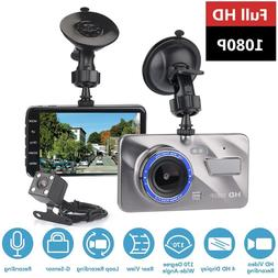 "Dash Cam Dual Lens Car DVR Camera Full HD 1080P 4"" IPS Front"