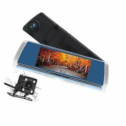 Dash Cam Front and Rear, Izaway 7 Inch Touch Screen Car Mirr