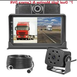 Dash Cam Front and Rear 7'' Monitor Front Lens Recording For