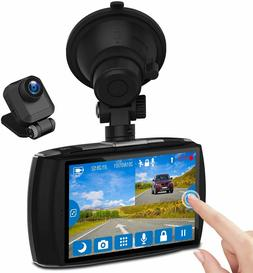 "Z-EDGE Dash Cam Front and Rear 4.0"" Touch Screen Dual Dash C"