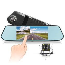 Dash Cam 7-Inch IPS 1080P Backup Camera, Touch Screen Dual L