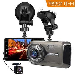 Dash Cam, TEMEISI Full HD Front and Rear Dual Dash Camera wi