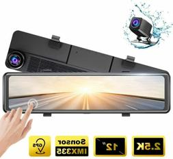 "AKASO DL12 2.5K Mirror Dash Cam 12"" Touch Screen Front Rear"