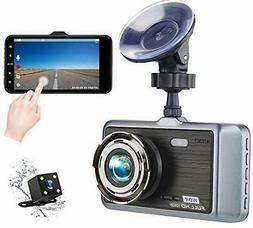 Dual Dash Cam Front and Rear,4 inch IPS Touch Screen,1080p