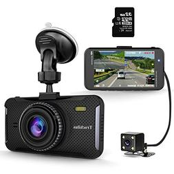 "Trochilus Dual Dash Cam 4"" 1080P Front and Rear Dash Cams, 1"
