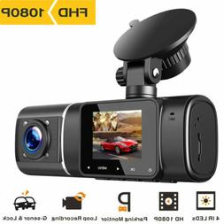 "TOGUARD Dual Dash Cam 1080P Full HD 340° 3"" LCD Car DVR Vid"