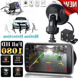 "Dual Lens Car DVR Vehicle Camera Full HD 1080P 4"" IPS <font>"