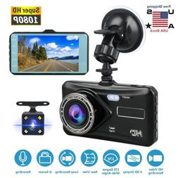 Dual Lens Dash Cam Camera HD 1080P Front Inside Rearview Car