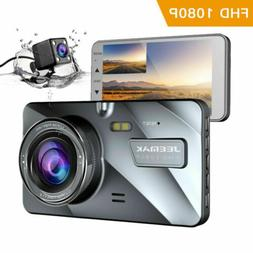 JEEMAK Dual Lens Dash Cam Front Rear Dashboard Camera Night