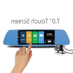 Dual Lens Dash Cam Touch Screen Rearview Portable With 7 Inc