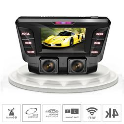 dual lens Dash Cam wifi car Cam Recorder 4k car dvr Video ca
