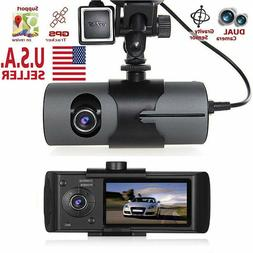 Dual Lens GPS Camera HD Car DVR Dash Cam Video Recorder Nigh