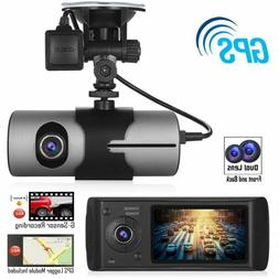 DVR Vision Cam Car Recorder Night Dual Dash GPS Lens G-Senso