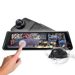 Backup Camera, Eonon 9.88 Inch Rear View Mirror Dash Cam for