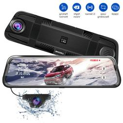 "AZDOME 10""FHD 1080P Dash Cam Dual Lens Car Camera Mirror Tou"