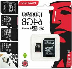 GENUINE KINGSTON 64GB CLASS 10 MICRO SD CARD AND ADAPTOR FOR