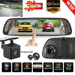 H6 8inch 1080P HD Car Auto Rearivew Mirror DVR Camera Video