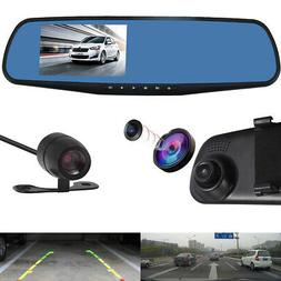 "HD 1080P 4.3"" Car DVR Dash Cam Video Recorder + Rearview Mir"