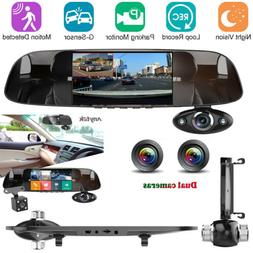 5 in HD 1080P Car Rear View Mirror DVR Camera Dash Cam Front