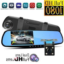 HD 1080P Dual Lens Car Auto DVR Mirror Dash Cam Recorder+Rea