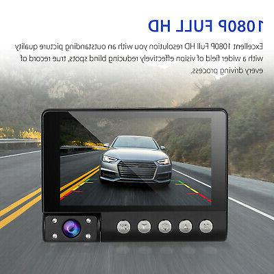 4'' HD 3 Lens Car DVR Dash Cam Rearview 170°