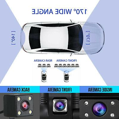 4'' HD 3 Lens Cam Vehicle Rearview Camera 170°