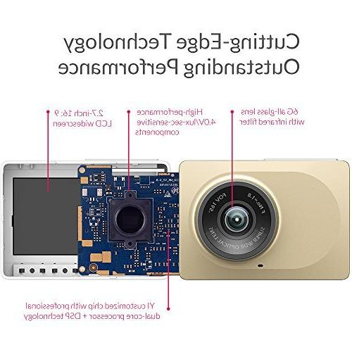 "YI 2.7"" Screen HD 165 Wide Angle Camera, DVR with WDR, Recording,"