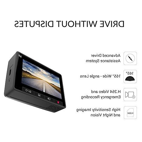 YI Screen Full HD Angle Camera, DVR Dash with Loop Recording,