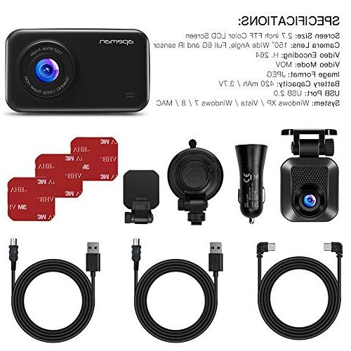 APEMAN Cam Full and Rear Cars, with Wide G-Sensor, Night Vision, Loop Recording