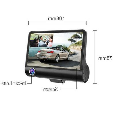3 Lens Car DVR Dash Dashboard Camera Rearview Cam Recorder Camcorder