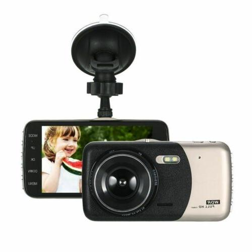 "4"" 1080P Dual Car Dash Cam Rear Camera Dashboard Recorder"