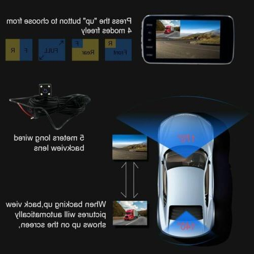 "4"" Lens Car Dash Cam Rear Dashboard DVR Recorder"