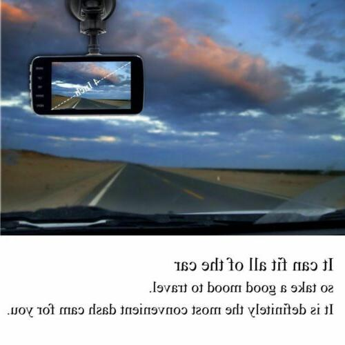 "4"" 1080P Dual Car Dash Cam Front Rear Camera Dashboard Recorder"