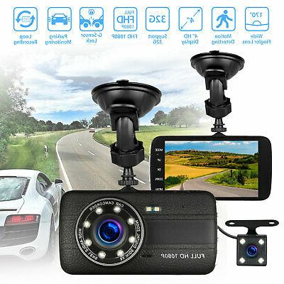 "4"" 1080P Car Dashboard Video Recorder Cam G-Sensor"