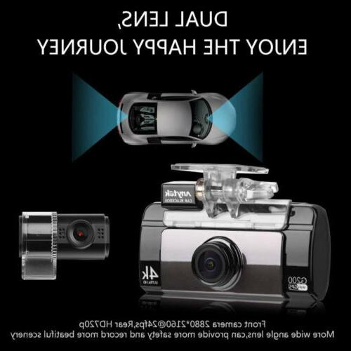 4K Cam Dual Recorder Car DVR GPS Anytek