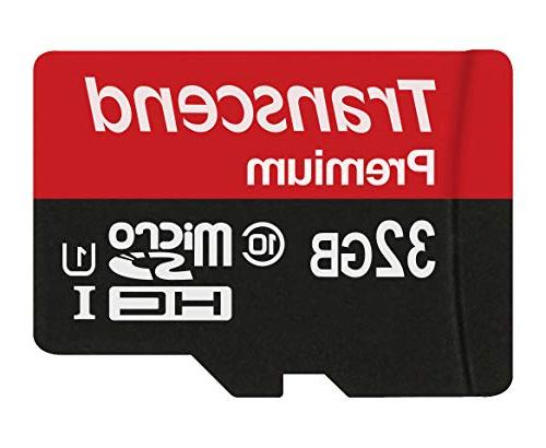 Transcend 32GB MicroSDHC Class10 UHS-1 Memory Card with Adap