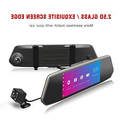 TOGUARD Mirror Screen 1080P Rearview Front and Lens with