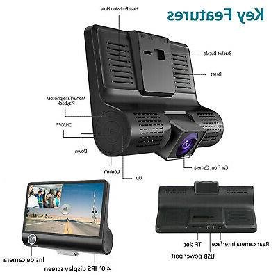 "4"" 3 Lens Dash Recorder + Rearview Camera US"