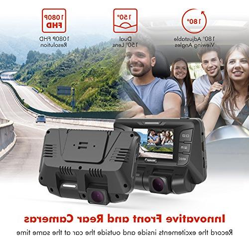 Pruveeo C2 Dual Dash Cam 1920x1080P Front Rear with Sensor, Built-in WDR Wide Angle Car Recorder, Loop