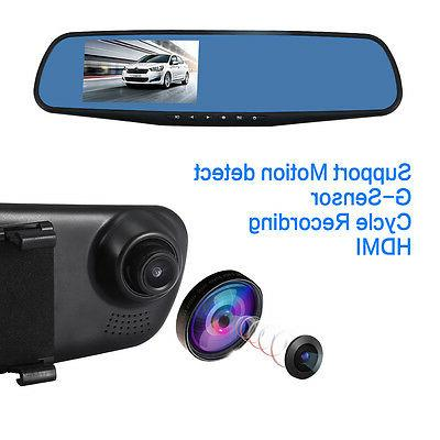 1080P Rearview DVR Dual Camera Vehicle Recorder US