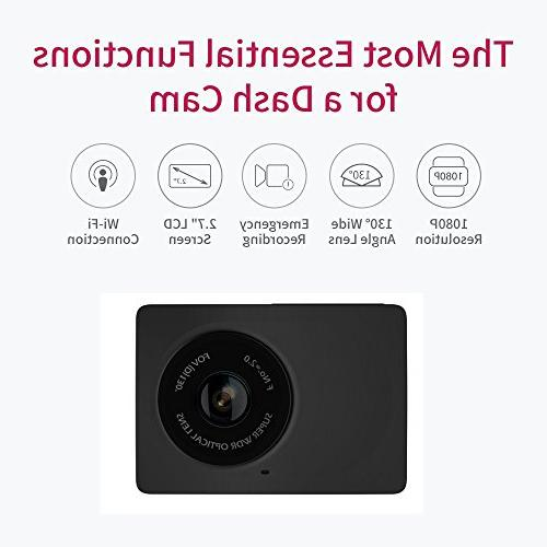 YI Dash 1080p Dashboard Camera with LCD Lens, Mobile APP, Night Vision, Loop Recording -