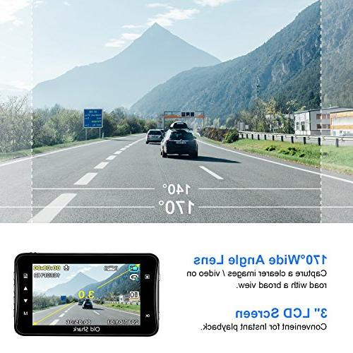OldShark 1080p Dash Cam with Wide-Angle Dashboard G-Sensor, Night WDR, Parking Recording