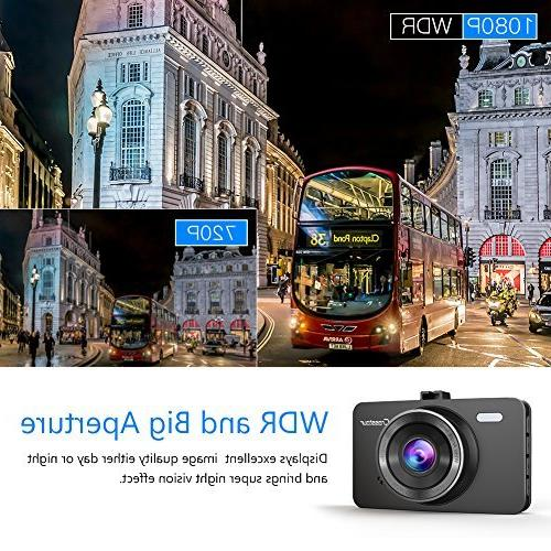 Dash Cam, Car Full HD LCD Screen 170°Wide WDR, G-Sensor, and Motion