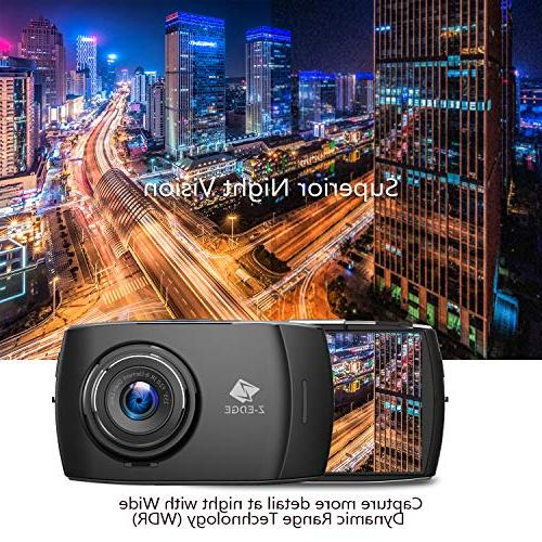 Z-EDGE Dash and Rear Touch Screen Cam FHD 1080P with Mode, Card Included,155 Degree Wide WDR,