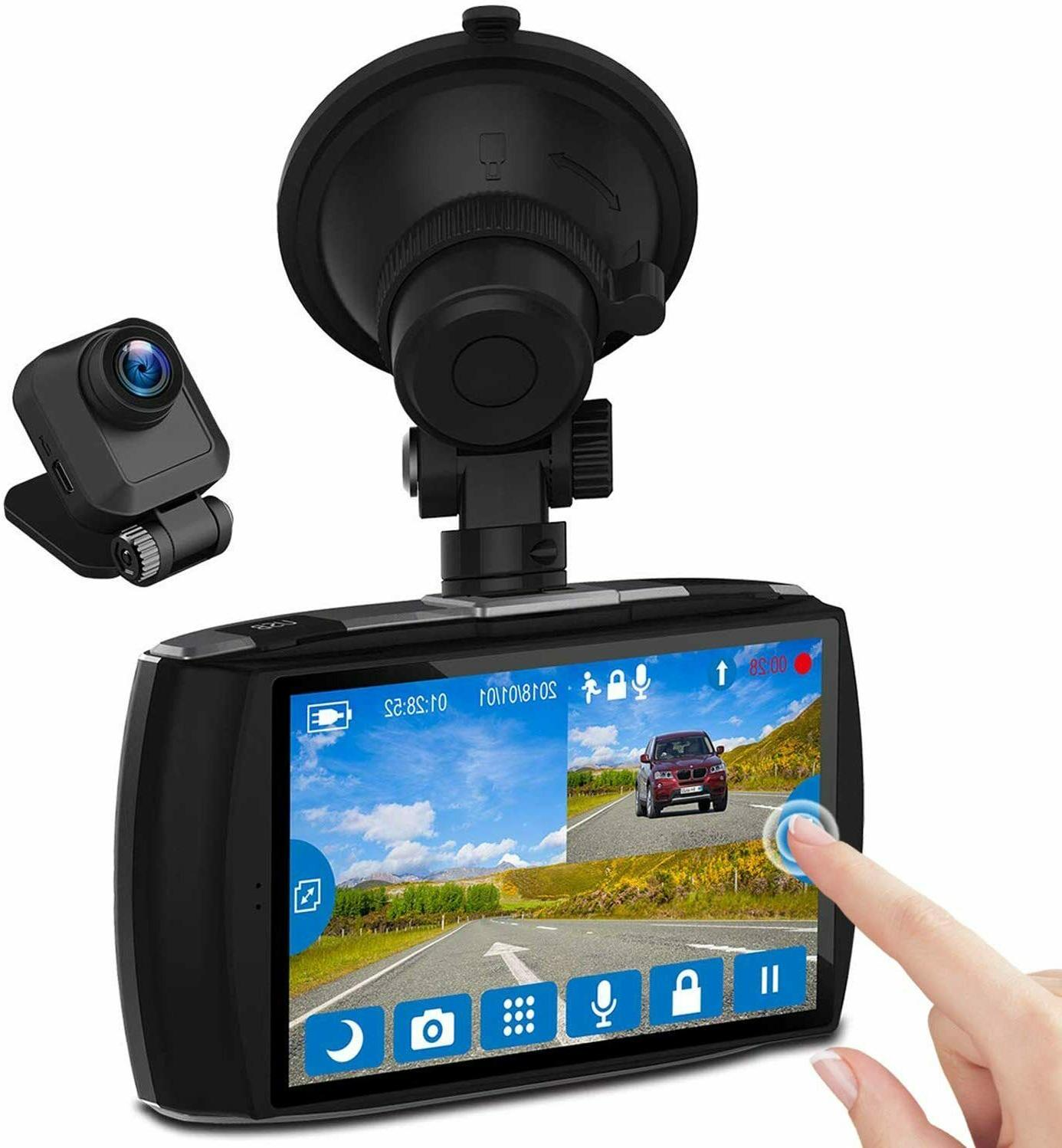 dash cam front rear touch