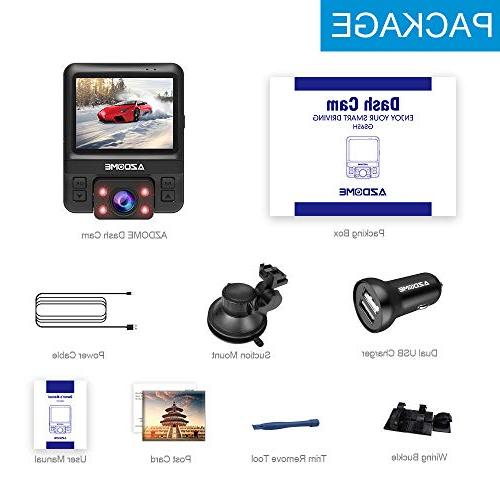Dash Cam with Dual 170°Wide-Angle,1080P Front and 720P Inside Dashboard Camera Built-in Sensor,G-Sensor,Loop Vision,Parking for by