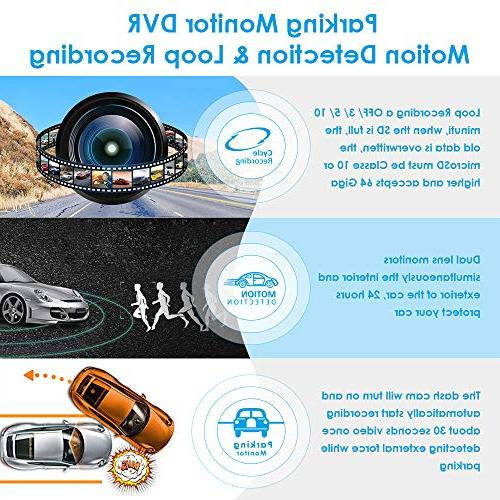 Dash with Dual 170°Wide-Angle,1080P Front and 720P Dashboard Camera Built-in Sensor,G-Sensor,Loop for by AZDOME