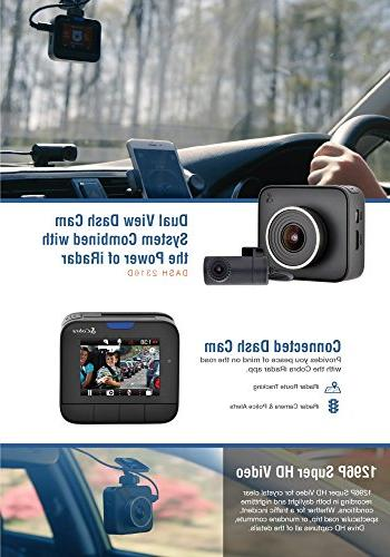Cobra HD Cam iRadar Featuring HD Front Cam and 720p HD Rear MicroSD Included, with G-Sensor Auto Detection, Recording,