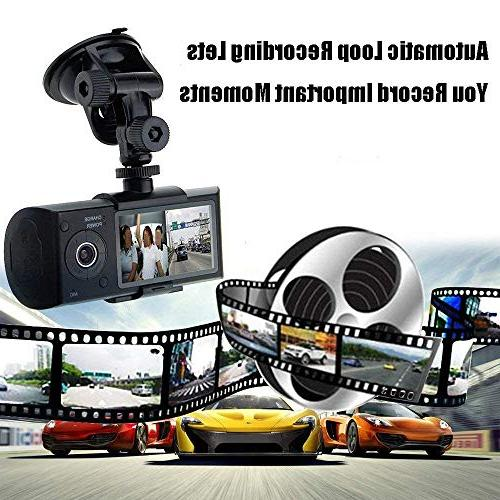 Dual Dash 19201080P 140 Degree Super Wide Angle Dash with IPS Motion Detection, Parking