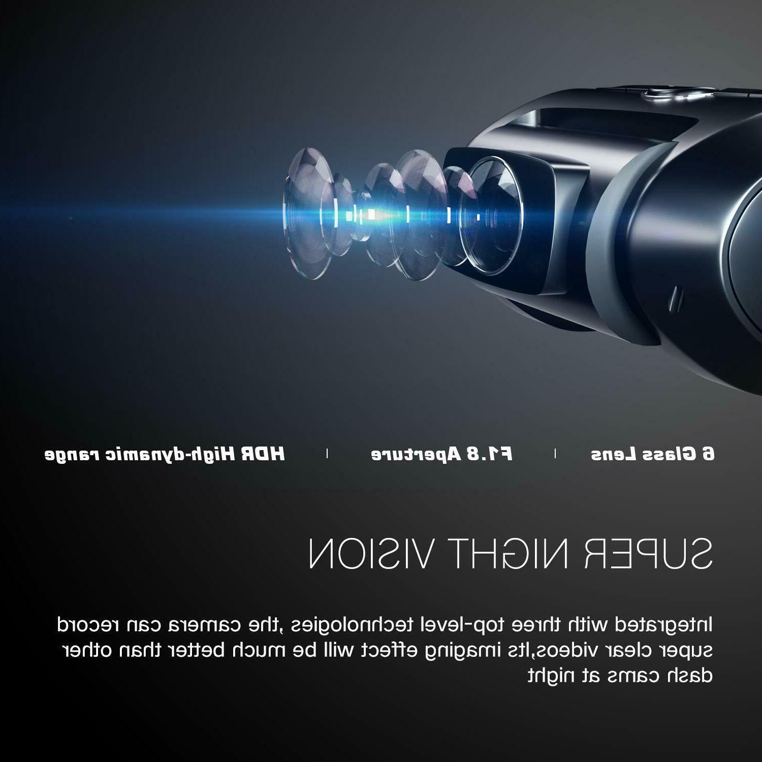 Dual Cam, 1080P Front and Rear Dual Lens Camera 170°Wide